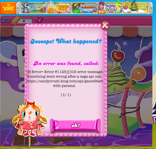 Candy crush saga error